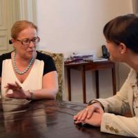 Isabella Alberti (Prefetto Gorizia) e Debora Serracchiani (Presidente Regione Friuli Venezia Giulia), nella sede della Regione FVG - Trieste 28/08/2015